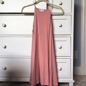 Dusty Pink High Neck Short Dress